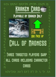 Call of madness game card, lovecraft themed