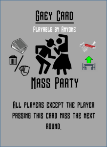 Party game card which makes two players skip their turn