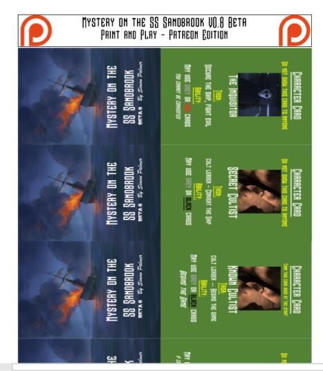 Mystery on the SS Sandbrook print and play cards