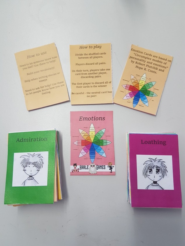 Emotions cards presented with instructions, card back and front