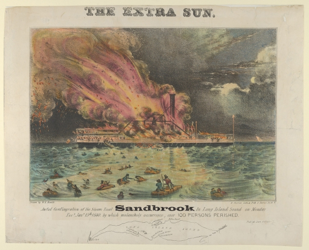 Old newspaper print showing large fire on a steamship